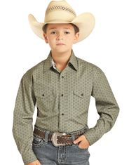 Panhandle Boy's Long Sleeve Print Snap Shirt - Grey
