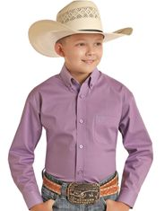 Panhandle Boy's Long Sleeve Solid Button Down Shirt - Violet