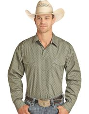 Panhandle Men's Long Sleeve Print Snap Shirt - Grey
