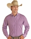 Panhandle Men's Stretch Long Sleeve Solid Button Down Shirt - Violet