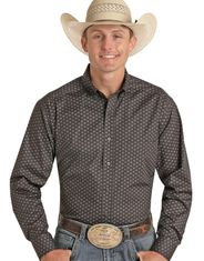 Panhandle Performance Men's Competition Fit Stretch Long Sleeve Print Button Down Shirt - Black