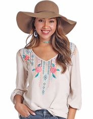 Panhandle Slim Women's Long Sleeve Embroidered Top - Natural (Closeout)