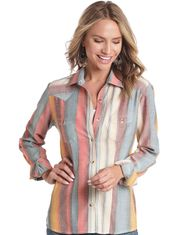 Panhandle Slim Women's Long Sleeve Stripe Button Down Shirt - Multi