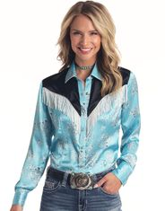 Panhandle Women's Long Sleeve Print Snap Shirt - Turquoise
