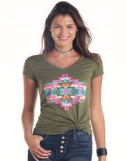 Panhandle Women's Short Sleeve Print Tee Shirt - Green