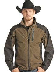 Powder River Men's Concealed Carry Bonded Heather Zip Logo Jacket - Brown (Closeout)