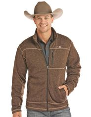 Powder River Men's Heather Zip Sweater Jacket - Brown (Closeout)