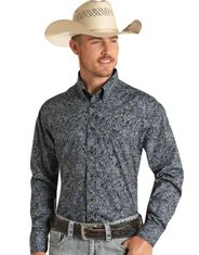Rock & Roll Cowboy Men's Classic Fit Long Sleeve Paisley Button Down Shirt - Blue