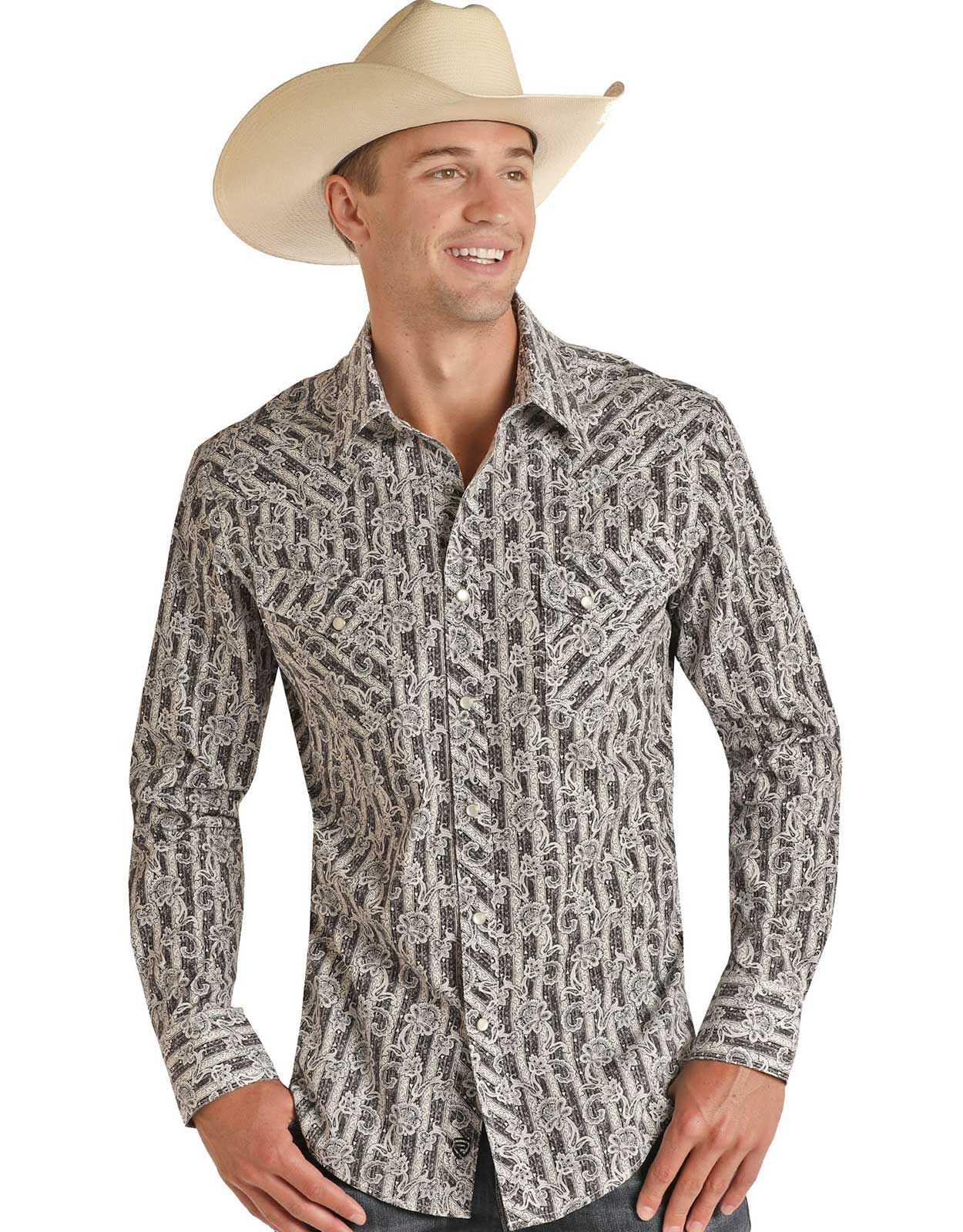 Rock & Roll Cowboy Men's Modern Fit Long Sleeve Floral Snap Shirt - Charcoal