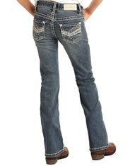 Rock & Roll Cowgirl Girl's Extra Stretch Low Rise Slim Fit Boot Cut Jean - Medium Vintage
