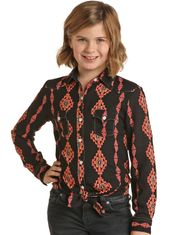 Rock & Roll Cowgirl Girl's Long Sleeve Print Button Down Shirt - Copper