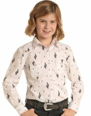 Rock & Roll Cowgirl Girl's Long Sleeve Print Snap Shirt - White