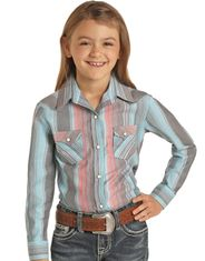 Rock & Roll Cowgirl Girl's Long Sleeve Stripe Snap Shirt - Turquoise