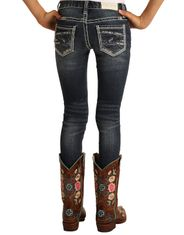 Rock & Roll Cowgirl Girl's Stretch Low Rise Skinny Jean - Dark Vintage