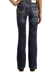 Rock & Roll Cowgirl Girl's Stretch Low Rise Slim Fit Boot Cut Jean - Dark Wash