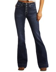 Rock & Roll Cowgirl Women's Extra Stretch High Rise Trouser Fit Flare Leg Jean - Dark Vintage