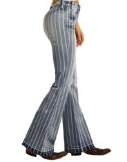 Rock & Roll Cowgirl Women's Extra Stretch High Rise Trouser Fit Flare Leg Jean - Medium Wash
