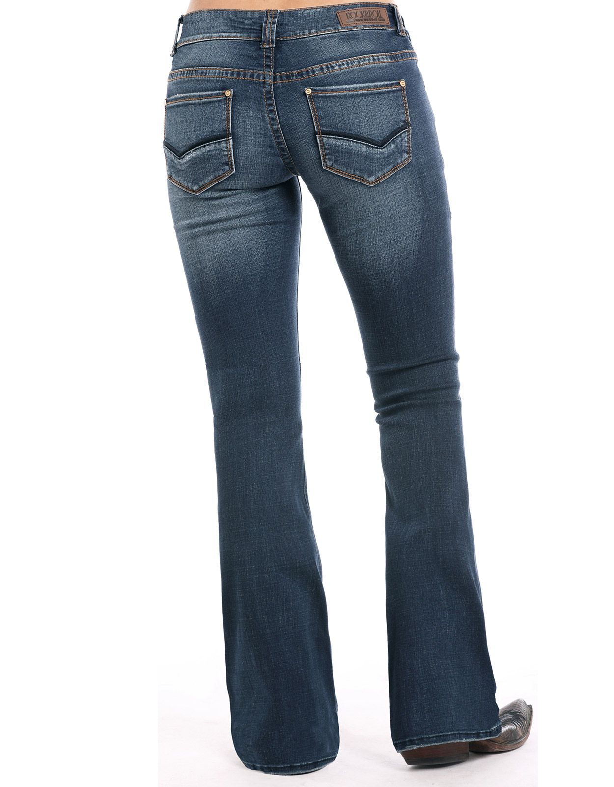 Rock & Roll Cowgirl Women's Extra Stretch Mid Rise Regular Fit Boot Cut Jeans - Dark Vintage (Closeout)