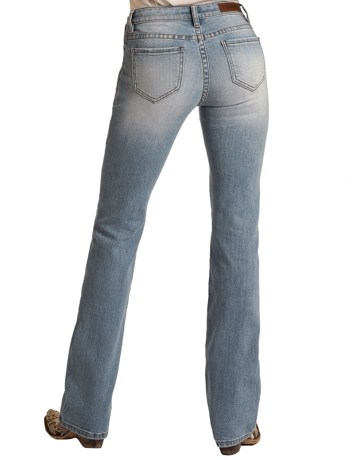 Rock & Roll Cowgirl Women's Extra Stretch Mid Rise Regular Fit Boot Cut Jeans - Light Wash
