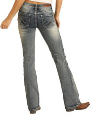 Rock & Roll Cowgirl Women's Extra Stretch Mid Rise Regular Fit Boot Cut Jeans - Medium Vintage