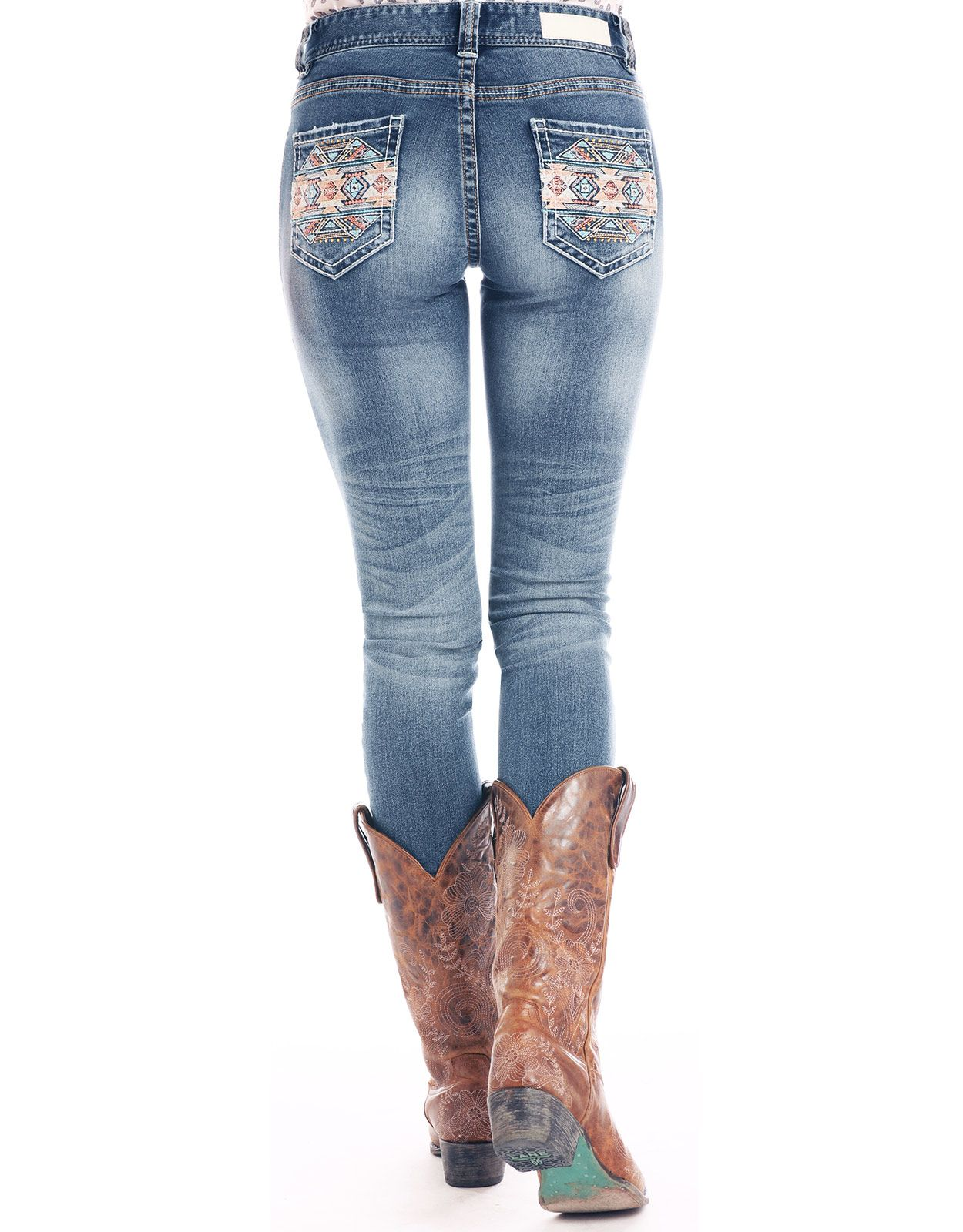 Rock & Roll Cowgirl Women's Extra Stretch Mid Rise Skinny Jeans - Medium Vintage (Closeout)