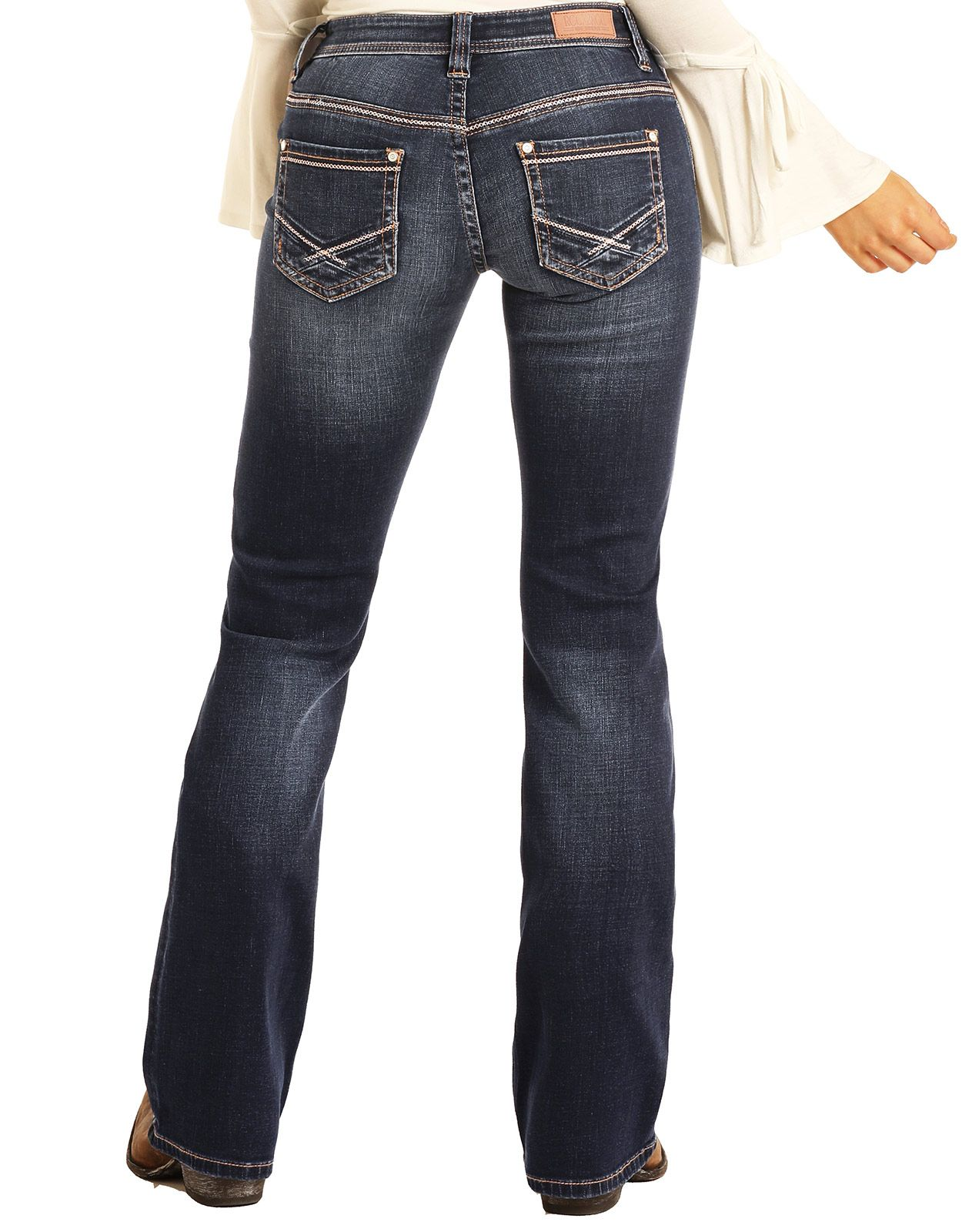 Rock & Roll Cowgirl Women's Extra Stretch Riding Mid Rise Slim Fit Bootcut Jeans- Dark Wash (Closeout)