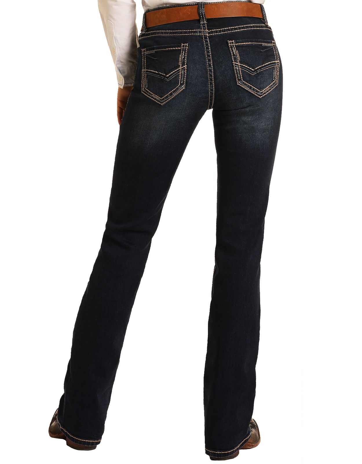 Rock & Roll Cowgirl Women's Extra Stretch Riding Mid Rise Regular Fit Boot Cut Jeans - Dark Vintage