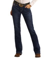 Rock & Roll Cowgirl Women's Extra Stretch Riding Mid Rise Regular Fit Boot Cut Jeans- Dark Wash