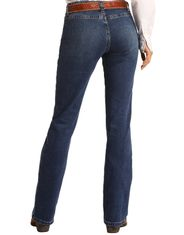 Rock & Roll Cowgirl Women's Extra Stretch Riding Mid Rise Regular Fit Boot Cut Jeans- Medium Wash