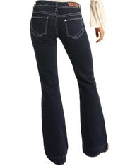 Rock & Roll Cowgirl Women's Extra Stretch Trouser Mid Rise Boot Cut  Jean - Dark Wash