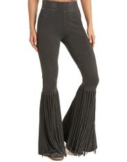 Rock & Roll Cowgirl Women's High Rise Slim Fit Fringe Bell Bottom Pant - Vintage Black