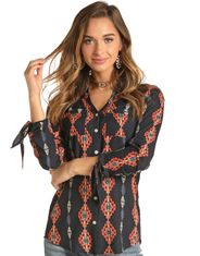 Rock & Roll Cowgirl Women's Long Sleeve Print Button Down Shirt - Blue