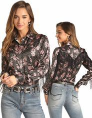 Rock & Roll Cowgirl Women's Long Sleeve Print Snap Shirt - Black
