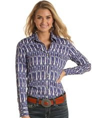 Rock & Roll Cowgirl Women's Long Sleeve Print Snap Shirt - Blue