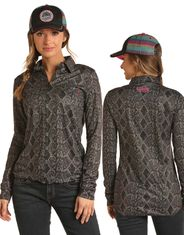 Rock & Roll Cowgirl Women's Long Sleeve Print Zip Shirt - Grey