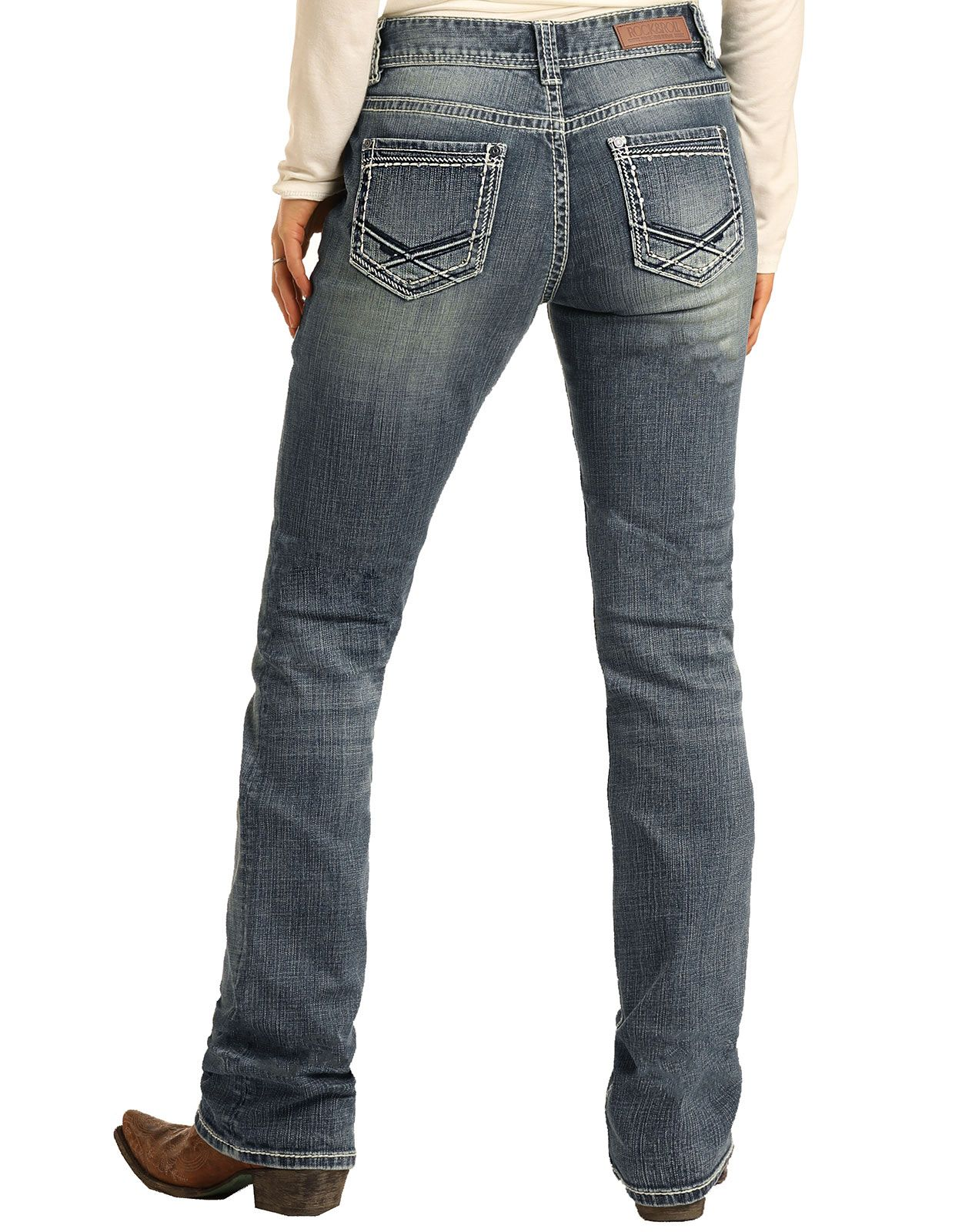 Rock & Roll Cowgirl Women's Mid Rise Boyfriend Fit Straight Leg Jeans - Medium Vintage