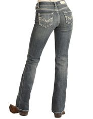 Rock & Roll Cowgirl Women's Mid Rise Regular Fit Boot Cut Jeans - Medium Wash