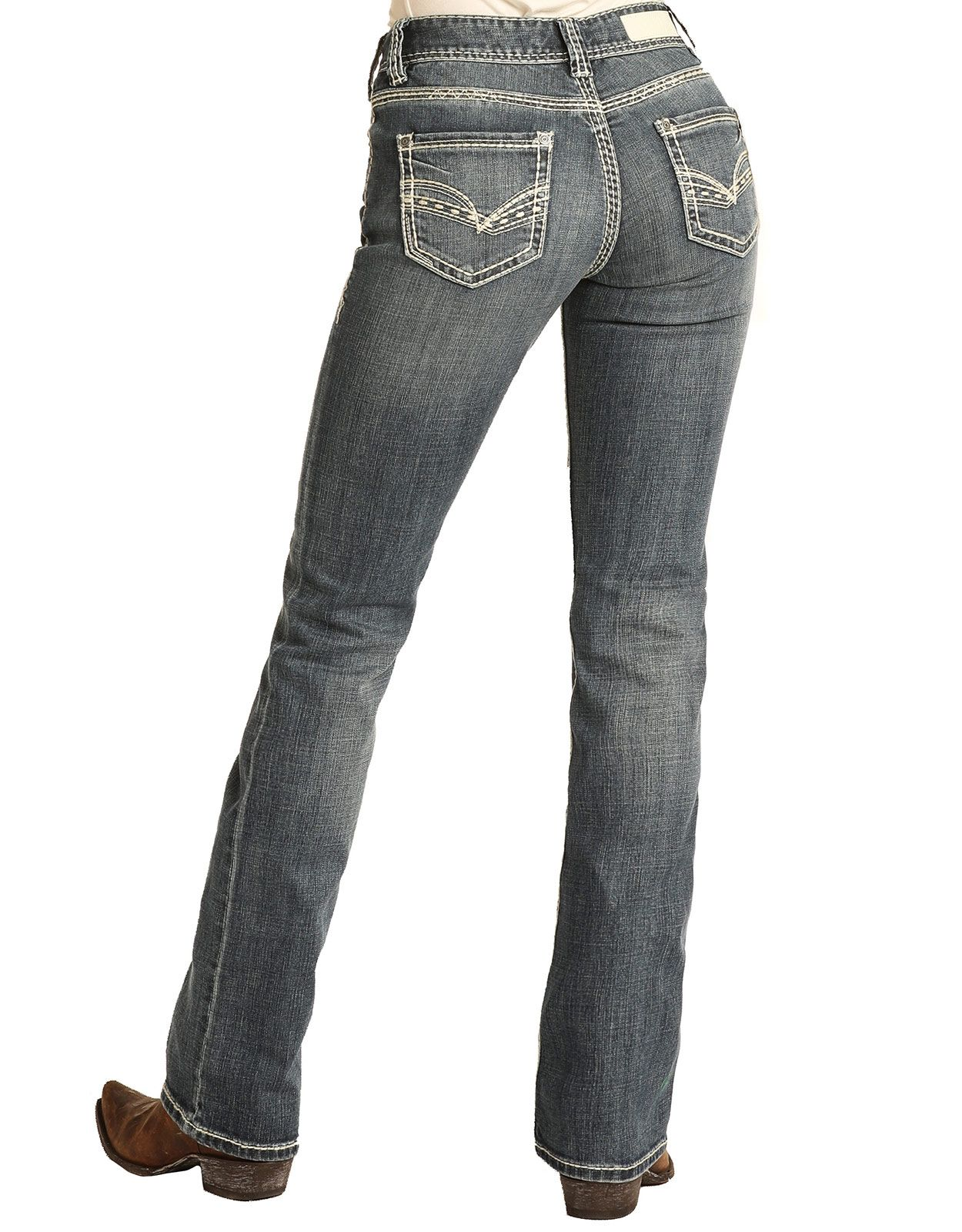 Rock & Roll Cowgirl Women's Mid Rise Regular Fit Boot Cut Jeans - Medium Wash (Closeout)