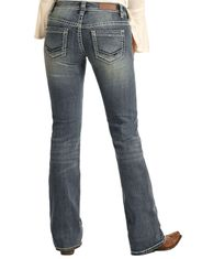 Rock & Roll Cowgirl Women's Riding Mid Rise Slim Fit Bootcut Jeans- Medium Vintage