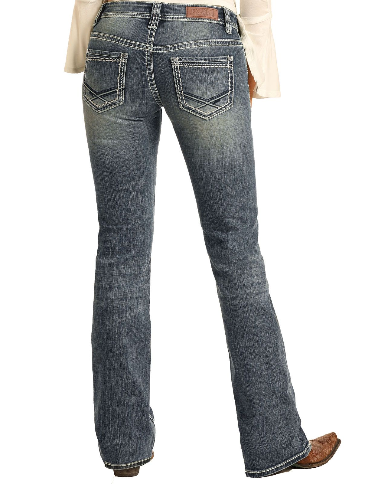 Rock & Roll Cowgirl Women's Riding Mid Rise Slim Fit Bootcut Jeans- Medium Vintage (Closeout)