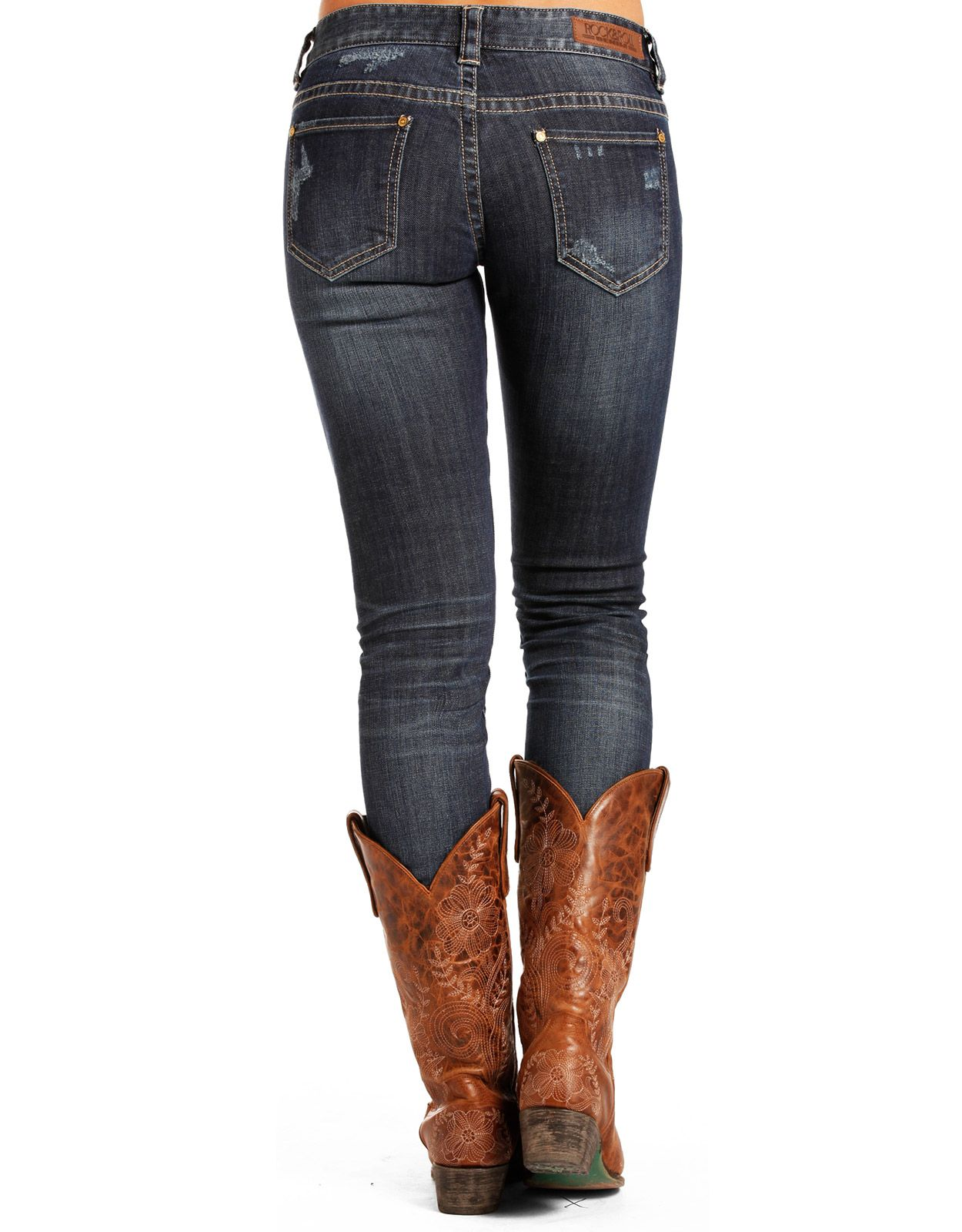Rock & Roll Cowgirl Women's Rival Low Rise Skinny Jeans - Dark Vintage (Closeout)
