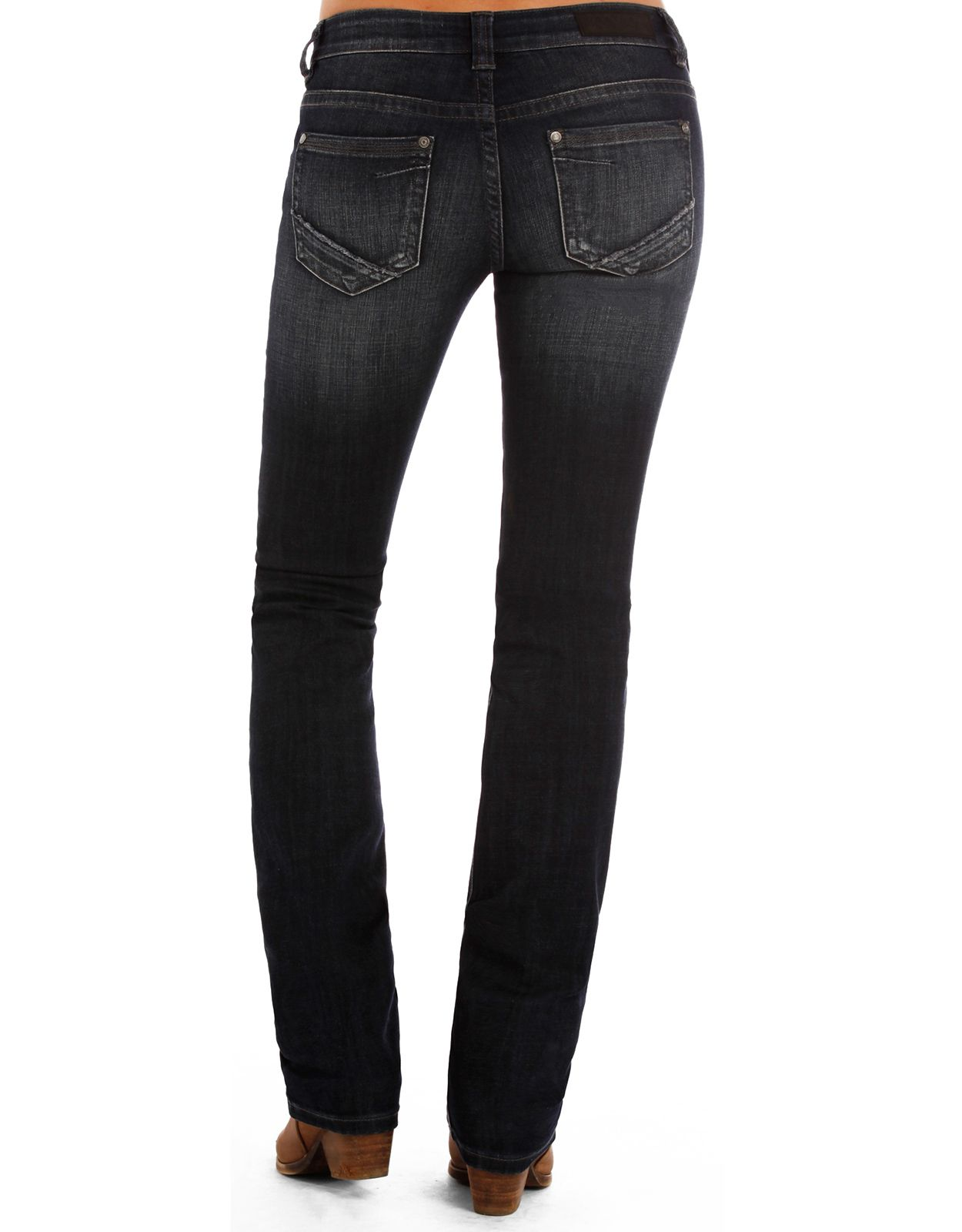 Rock & Roll Cowgirl Women's Rival Low Rise Slim Fit Straight Leg Jeans - Dark Vintage (Closeout)