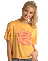 Rock & Roll Cowgirl Women's Short Sleeve Print Tee Shirt - Gold