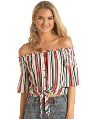 Rock & Roll Cowgirl Women's Short Sleeve Stripe Top - Multi