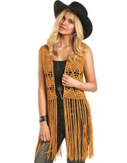 Rock & Roll Cowgirl Women's Sleeveless Crochet Vest - Gold