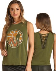 Rock & Roll Cowgirl Women's Sleeveless Print Tank Top - Green (Closeout)