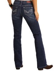 Rock & Roll Cowgirl Women's Stretch Mid Rise Regular Fit Boot Cut Jeans - Dark Wash