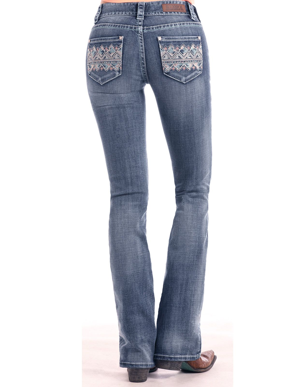 Rock & Roll Cowgirl Women's Stretch Mid Rise Slim Fit Boot Cut Jeans - Dark Vintage (Closeout)
