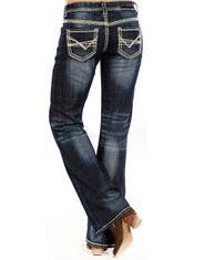 Rock & Roll Cowgirl Women's Stretch Riding Mid Rise Regular Fit Boot Cut Jeans- Dark Vintage