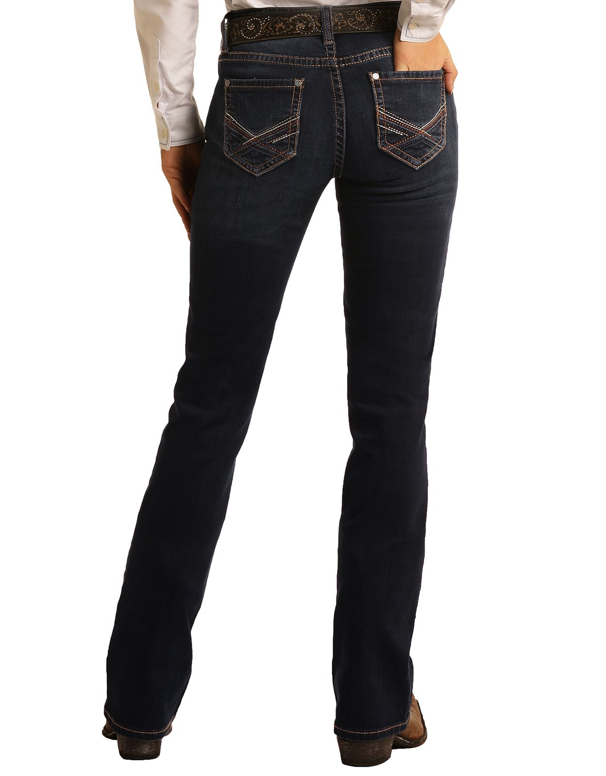 Rock & Roll Cowgirl Women's Stretch Riding Mid Rise Regular Fit Boot Cut Jeans- Dark Wash
